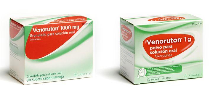 Rediseño del pack de Venoruton. Izquierda antes, derecha después.  2014. Novartis.