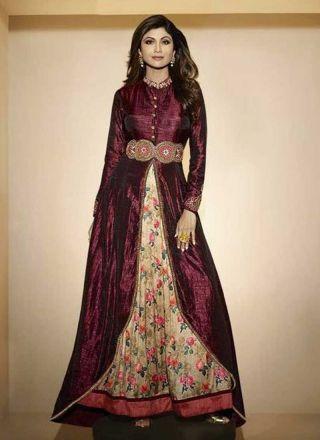 Shilpa Shetty Wine Embroidery Work Raw Silk Stone Work Long Bollywood Style Anarkali Suit #salwarkameez #dresses #Suits http://www.angelnx.com/Salwar-Kameez