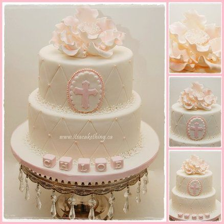 Elegant Baptism Cake - by itsacakething @ CakesDecor.com - cake decorating website