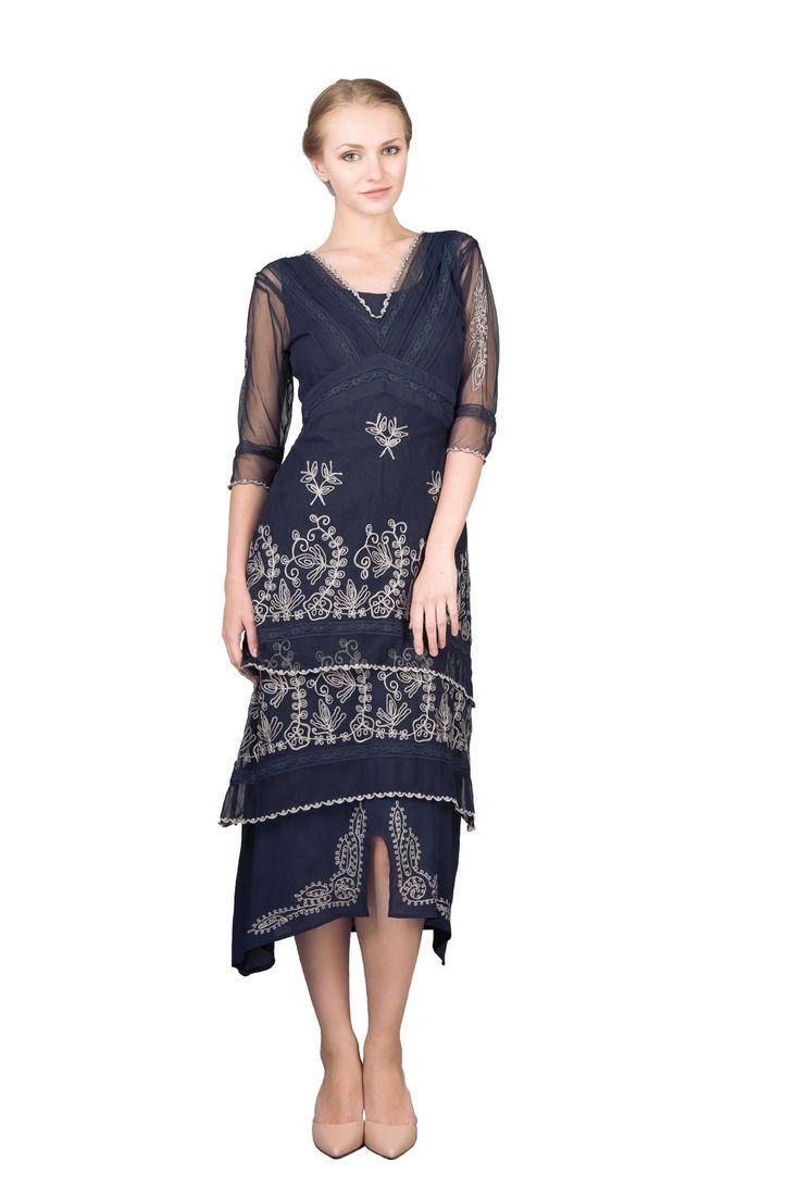 Best Seller! 1920s Tea Party Dress in Sapphire by Nataya $210.00 AT vintagedancer.com