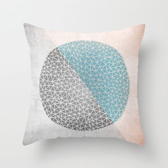 Geomertic Doodle Rose Throw Pillow