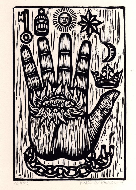The Philosopher's Hand Woodcut  Art Print by HorseAndHare on Etsy, $20.00