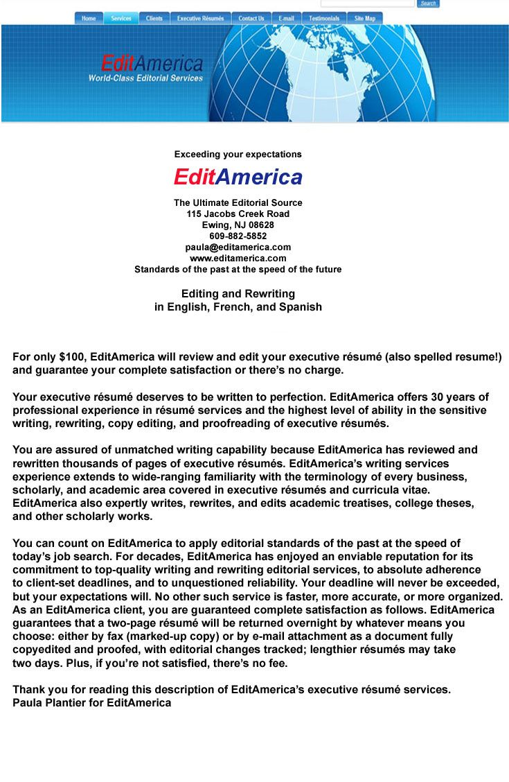 Executive resume copyeditng services executive resume