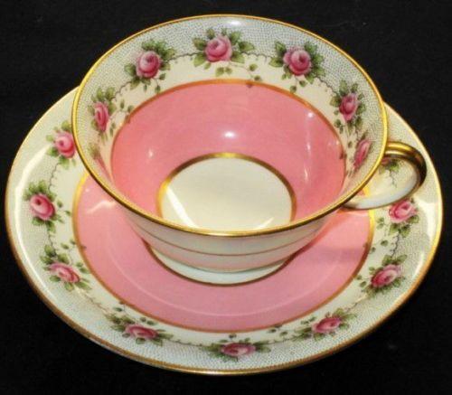 ANTIQUE OLD AYNSLEY PINK ROSE GARLANDS BLACK DOTS GOLD TEA CUP AND SAUCER
