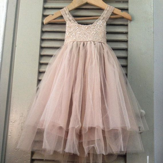 Reserved Sparkle Magic Dusty Rose flower girl by AngelikasBoutique