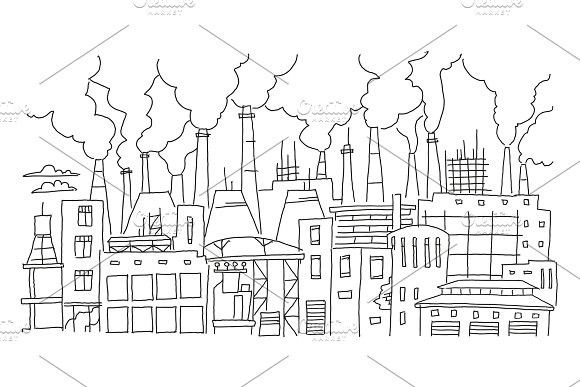 Industrial Pollution Big City Panorama Sketch Hand Drawn Vector Stock Line Illustration Building Landscape City Drawing Landscape Drawings City Landscape
