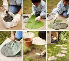 Einzigartige Garten Fliesen oder Trittsteine selber machen mit einem großen Blatt und Zement