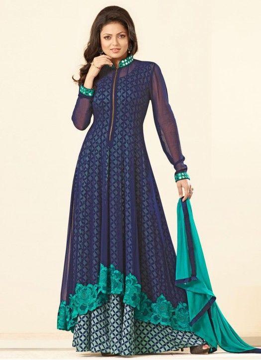 Drashti Blue & Sky Plazoo Anarkali Suit