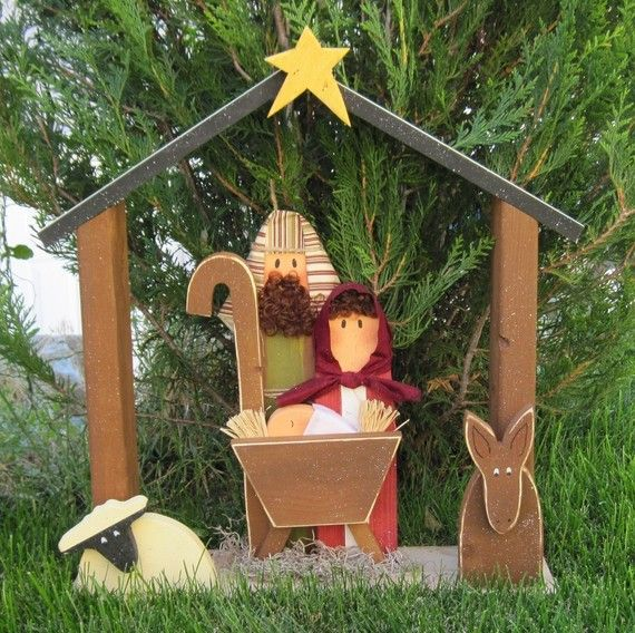 LARGE WOOD NATIVITY for Christmas holiday Noel baby by lisabees