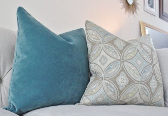 Designer Grey Blue Pillow Neutral Geometric by MotifPillows