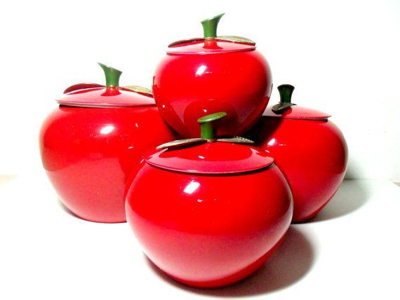set of 4 apple canisters aluminum metal apple shaped country apple vintage style heavy kitchen canisters
