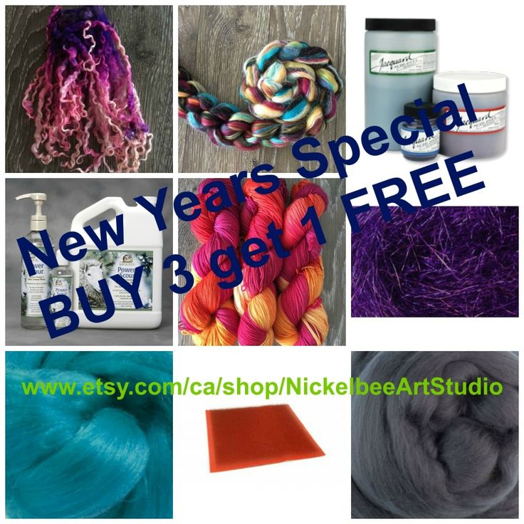 BUY 3 get 1 FREE on all Felting and Spinning Supplies