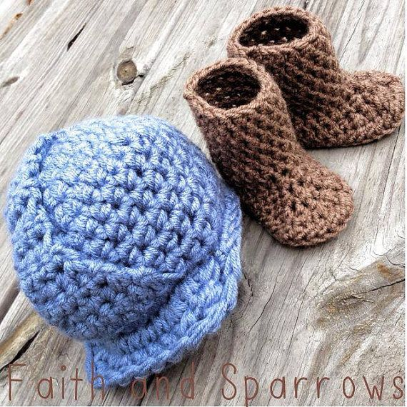 Oilfield Baby.   Crochet NEWBORN Hard Hat and Work Boots Photography Prop Oilfield, Roughneck, Roustabout  on Etsy, $33.00
