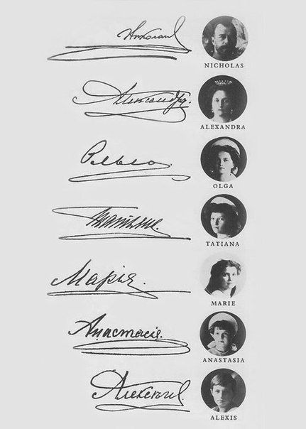 Signatures of the royal family