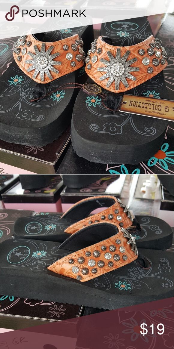 Bling Flip Flops Bling Flip Flops with a comfortable 2 inch heel and textured sole. P&G Shoes Sandals
