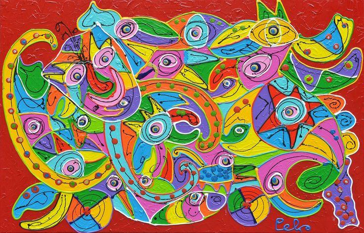 Dit is een: Acrylverf dik, titel: 'Freshtival' kunstwerk vervaardigd door: Peko