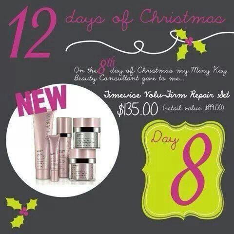 Double the Deals on the 8th Day of Christmas Each offer is available until Christmas so visit my page each day to find out what's new. Some days will have DOUBLE Deal Savings.  dpennyman@marykay.com