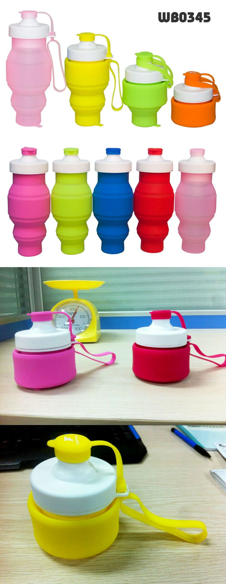 Silicone Foldable Water Bottle Specifications:  •material: silicone+pp •size:  20*7.8cm (unfolded) •capacity: 520ML •foldable in small size, portable to carry •nice design with different colorful colors •logo printing is welcomed www.ideagroupigm.com