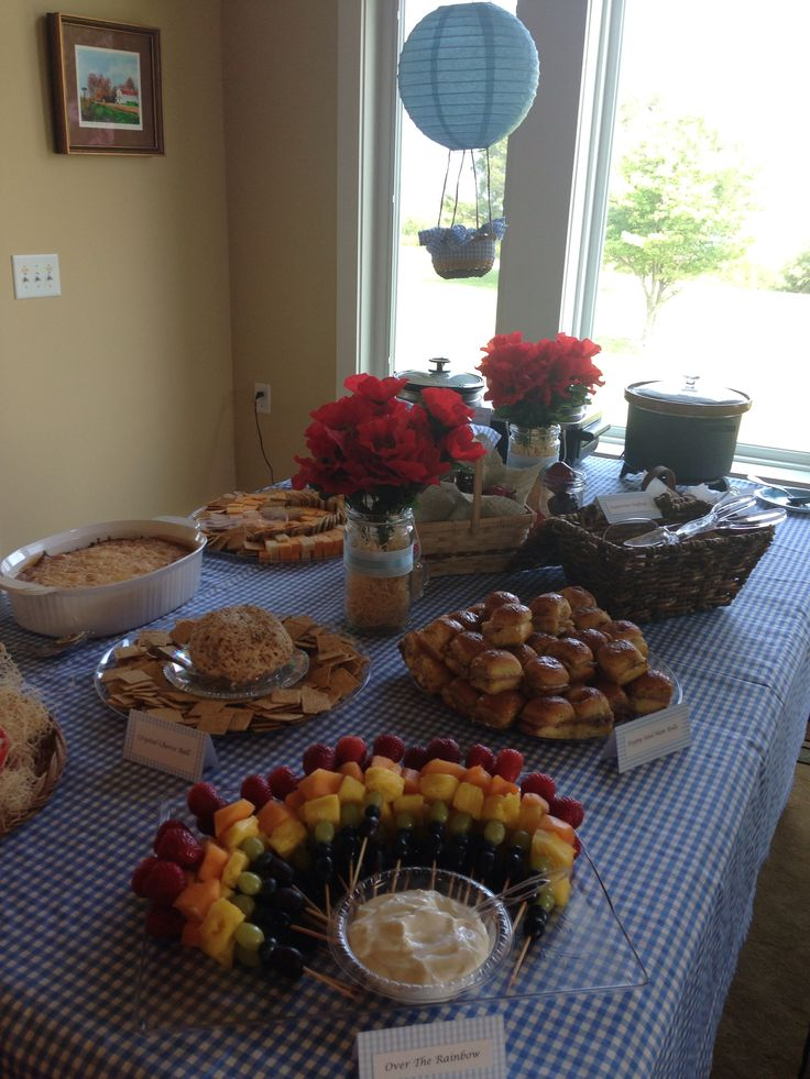 Wizard of oz bridal shower party buffet table hot air