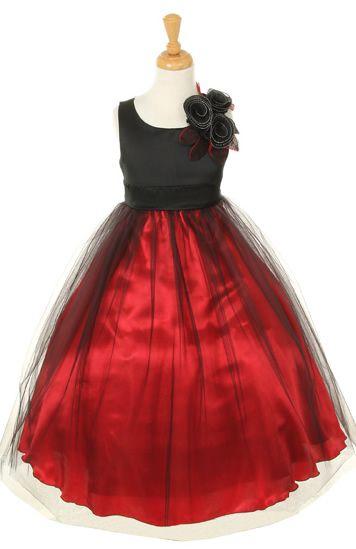 Flower Girl Dresses - Christmas Dresses - Flower Girl Dresses Discount Cheap Designer Dressforless - CC1111 - Black and Red Flower Girl Dress