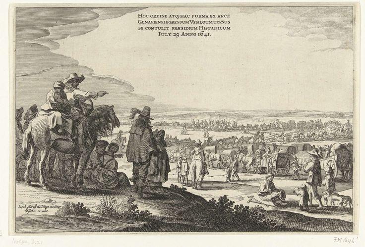 Pieter Nolpe | Vertrek van het Spaanse garnizoen uit Huis te Gennep (blad 1), 1641, Pieter Nolpe, Claes Jansz. Visscher (II), 1641 | Vertrek van het Spaanse garnizoen uit Huis te Gennep op 29 juli 1641, na het beleg en de verovering van het Huis te Gennep door het Staatse leger onder Frederik Hendrik, 6 juni - 27 juli 1641. Blad nr. 1 in de grote voorstelling van de uittocht van de Spaanse troepen in 4 bladen. Toeschouwers kijken naar de stoet van wagens en kanonnen. Bovenaan een opschrift…