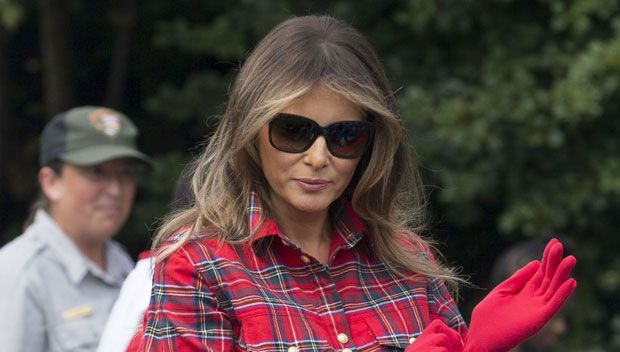 Melania Trump's Not So Down-To-Earth: She Sports $1,362 Red Plaid Shirt In #White #House #Garden