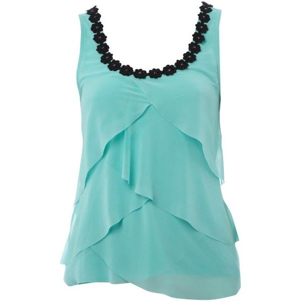 Lipsy Floral Trim Vest ($21) ❤ liked on Polyvore featuring tops, shirts, tank tops, tanks, blusas, turquoise, party tank tops, blue tank top, vest top and party tops