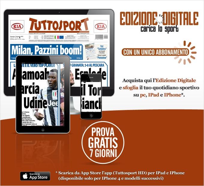 Edizione Digitale è l´abbonamento di Tuttosport che ti permette di leggere in piena mobilità il tuo giornale preferito su PC, iPad ed iPhone.