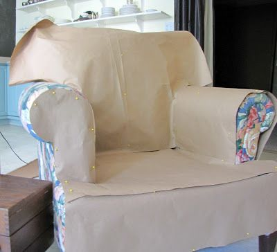 armchair and ottoman slipcover tutorial including how to make a pattern