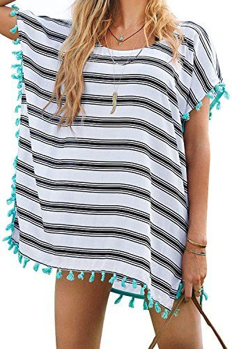 Women's Cover-Up Stripes Macrame Chiffon Beachwear, Fits S/M/L