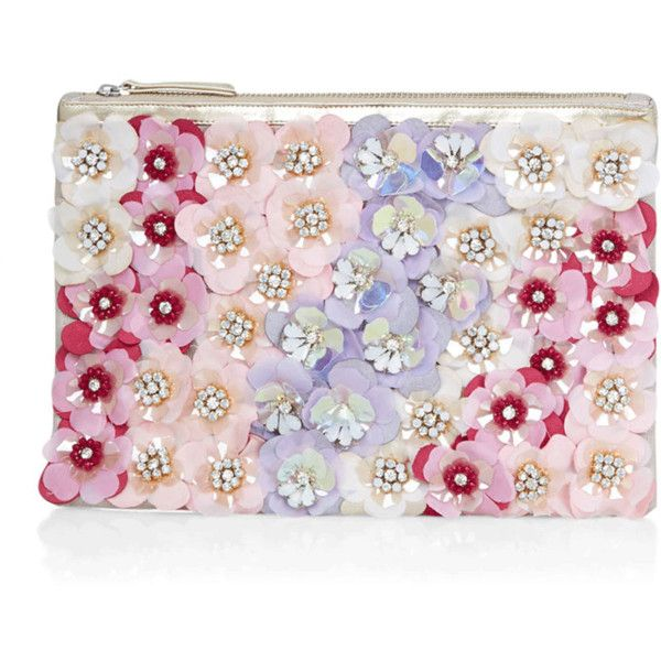 Accessorize Felicity Floral Clutch Bag ($59) ❤ liked on Polyvore featuring bags, handbags, clutches, pink handbags, floral print handbags, handbags purses, pink sequin purse and pink hand bags