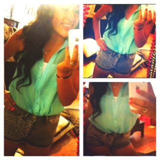 Studded shorts with a turquoise top (:<333