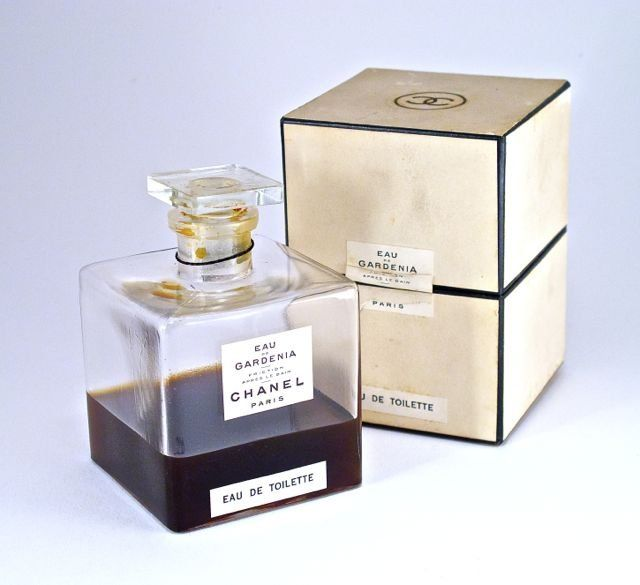 1940s Chanel Gardenia perfume bottle and stopper, clear glass, labels, box. 3 5/8 in.