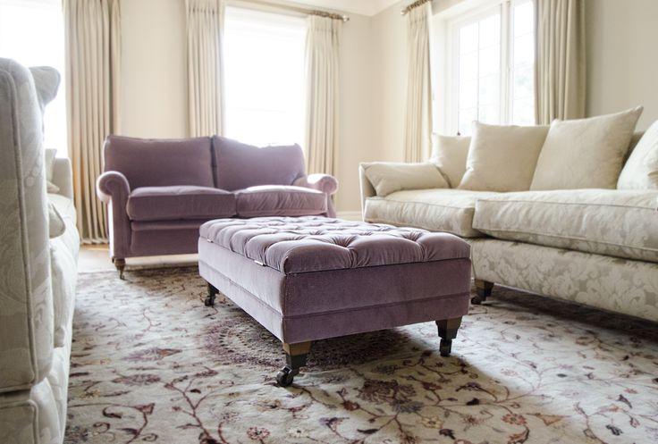 Purple & cream living room www.suescammellinteriors.co.uk