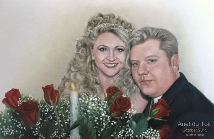 Bride and groom Oil on stretched canvas 90cm x 60cm Commissioned. SOLD
