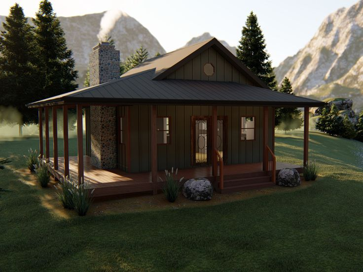 050h 0140 Rustic Vacation Cabin Plan 448 Sf Vacation House Plans Rustic Vacation Cabin Plans