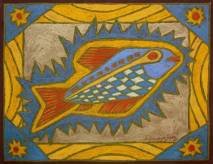 Bright Colored Fish Drawing - Colored-Pencil - Art on Paper