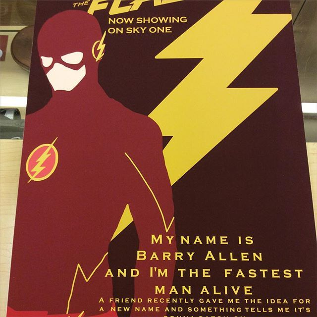"""""""A3 size The Flash fan art print by Huddersfield art student Jack Murphy high quality paper on a mountboard £45 Instore now and on our depop store #theflash #grantgustin #barryallen #dcart"""" Photo taken by @diversionsgifts.co.uk on Instagram, pinned via the InstaPin iOS App! http://www.instapinapp.com (07/03/2015)"""