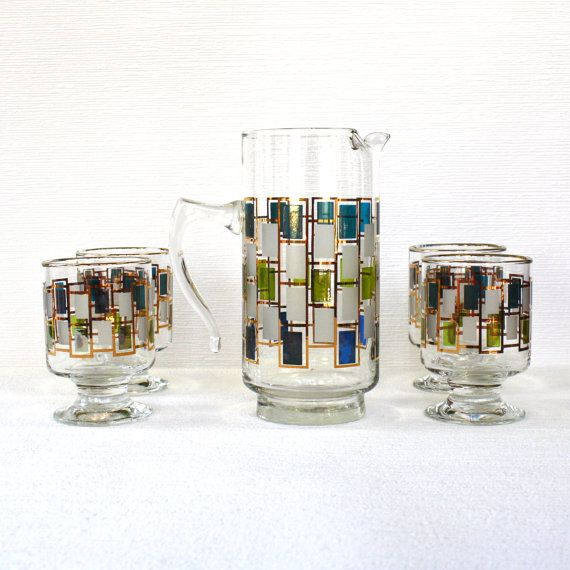 Vintage Midcentury Pitcher And Glassware Set