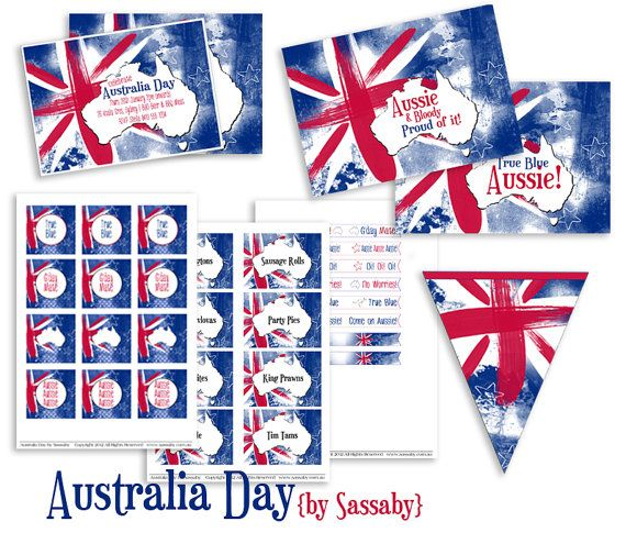 Australia Day Party Collection  DIY PRINTABLE FILES by Sassaby, $26.00