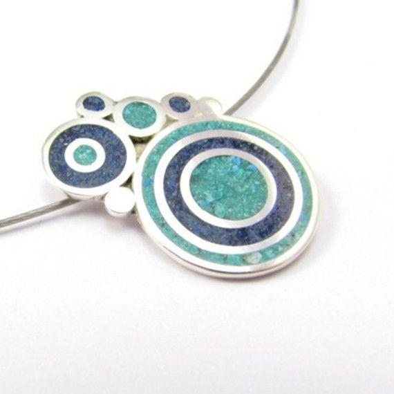 Burbujas turquesa y azul - Colgante / maldonadojoyas - Artesanio