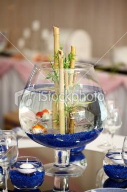 Blue/Bamboo Fish Bowl Centerpiece