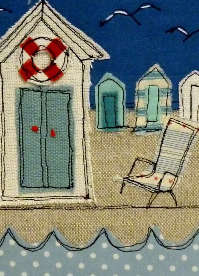 Beach hut framed textile art.