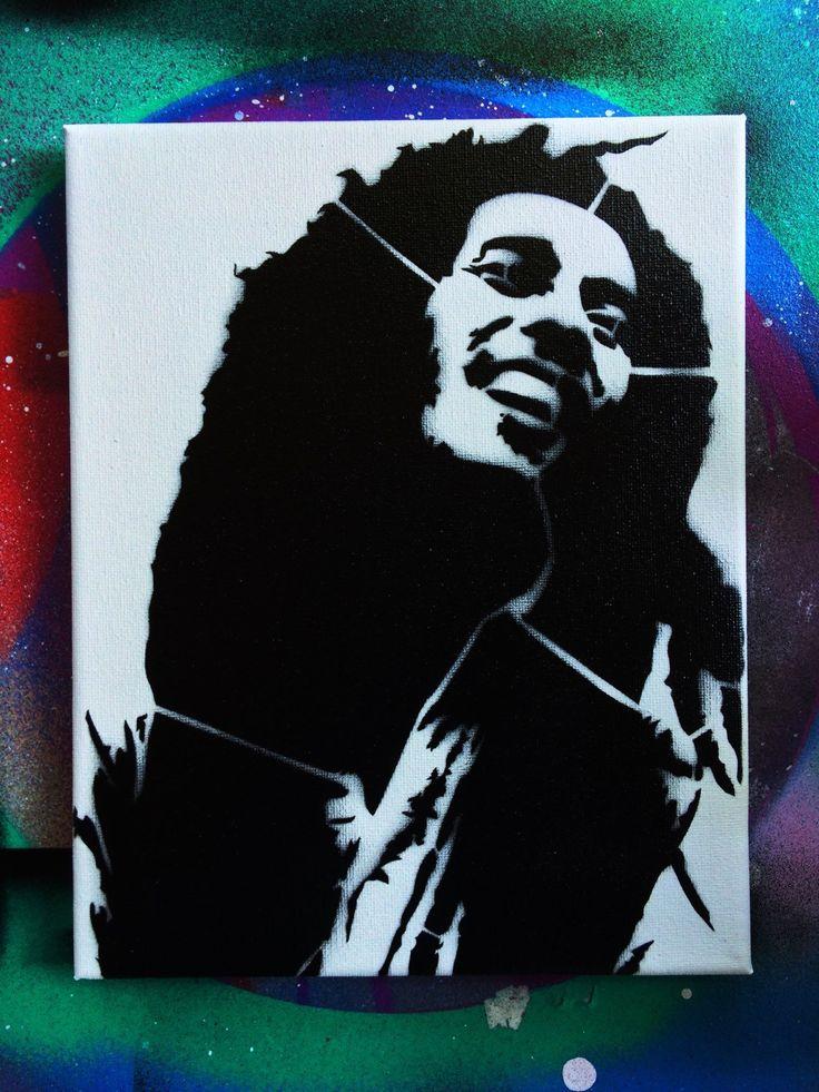 Bob Marley Art on 8x10 canvas  - Bob Marley Stencil Art - Bob Marley Art Print - Rasta Art - Jamaica Print  by ArekArt on Etsy