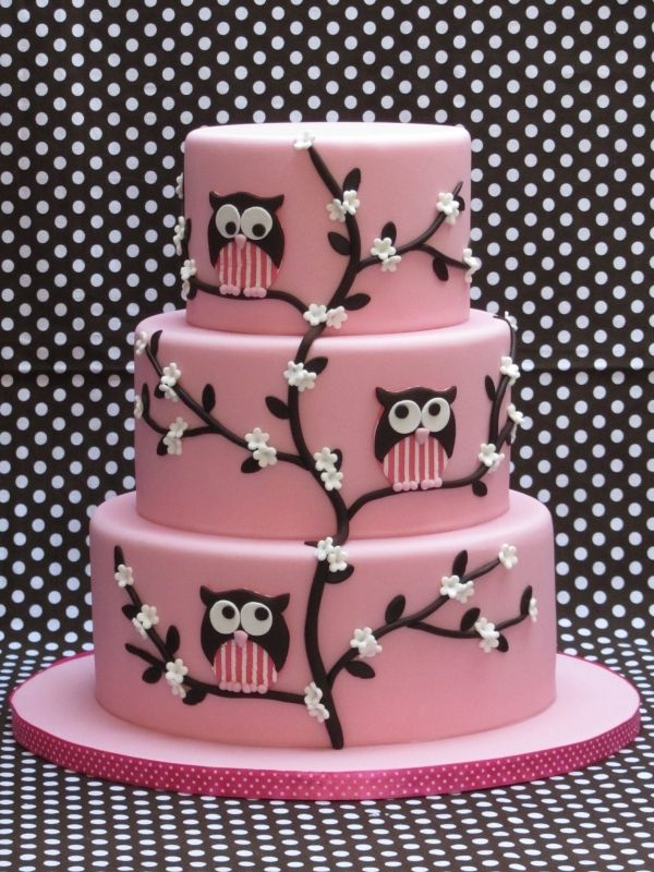 pink owl cake idea only. no instructions or recipe