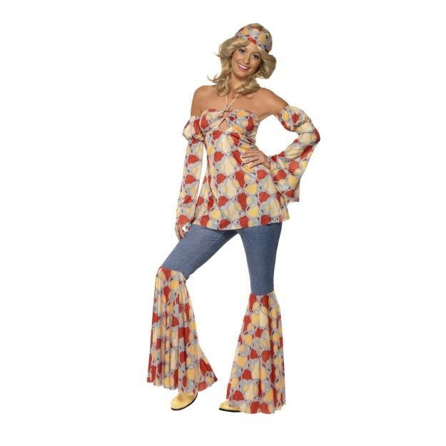 70er anni vestito S 36-38 Colorata Hippie OUTFIT NEON GILET Con Frange Costume da donna