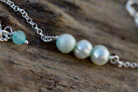 Freshwater pearl clip on bracelet charm