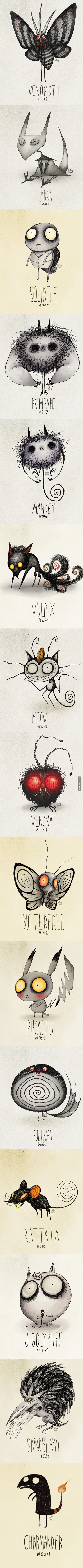 Tim Burton's Pokemon - i love this artworks is someone finds who has made them plz msg if possible