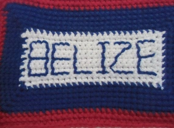 Zippered Clutch Belize Flag Inspired Crochet with by DylanaDesigns