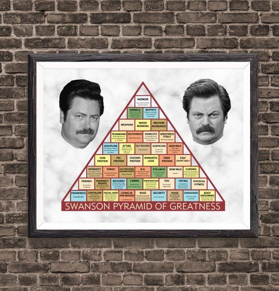 This is a picture of Ron Swanson Pyramid of Greatness Printable Version with readable